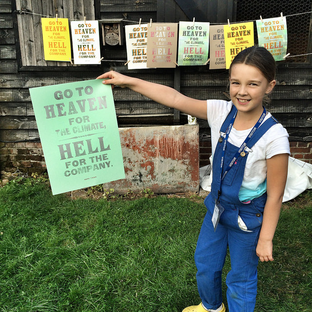 Freya (8) with her wood-type poster experiment for Colchester & Tendring Open Studios