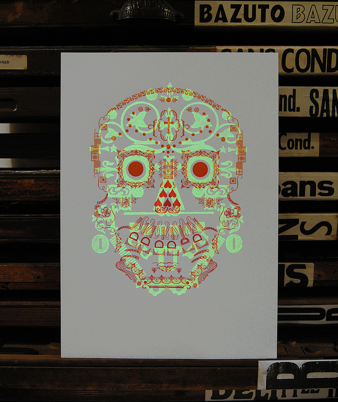 Limited edition 'Day of the Dead' glow-in-the-dark letterpress print