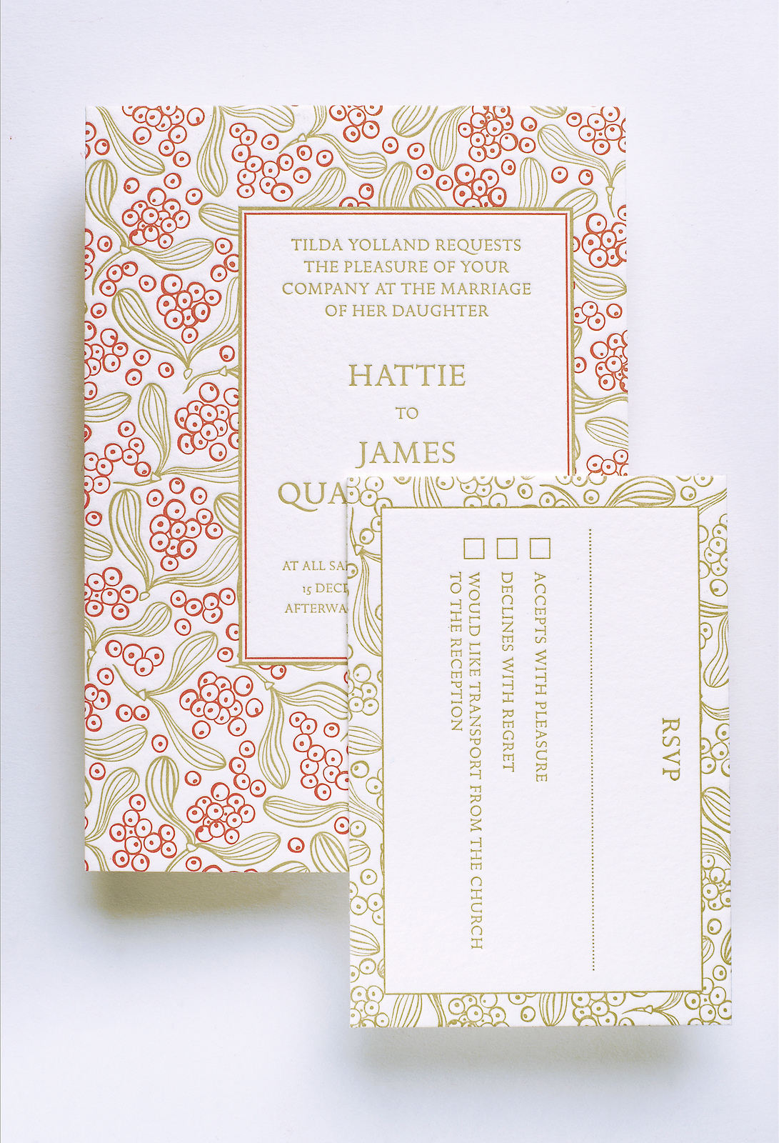 A letterpress wedding invitation