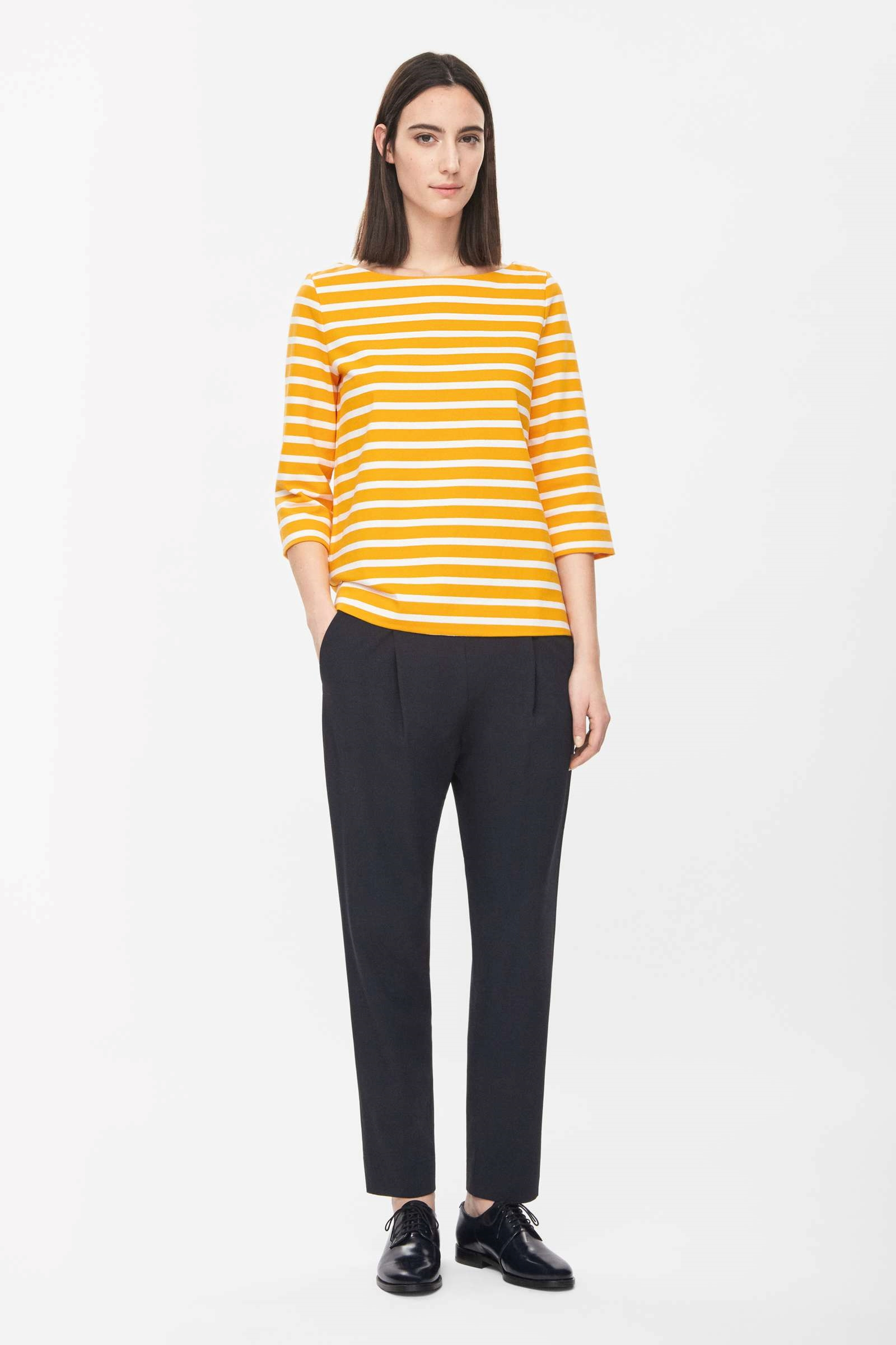 Striped boat-neck top, £45, H&M