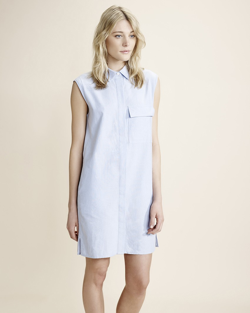 Blue sleeveless shirt dress, £45, Atterley