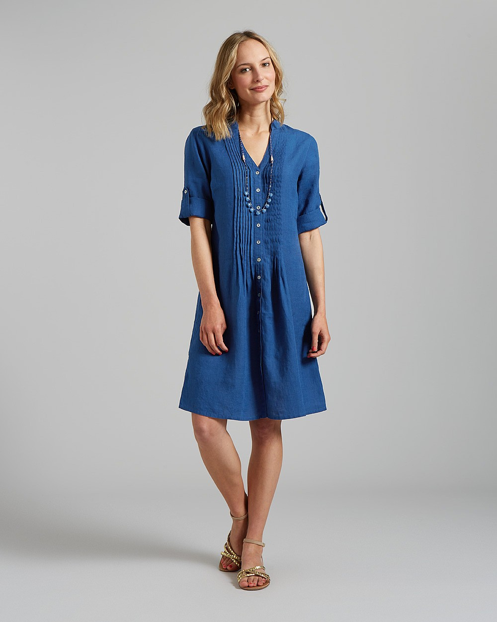 Linen pintuck dress, £95, East