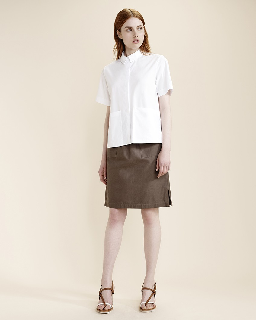 Khaki cotton skirt, £38, Atterley