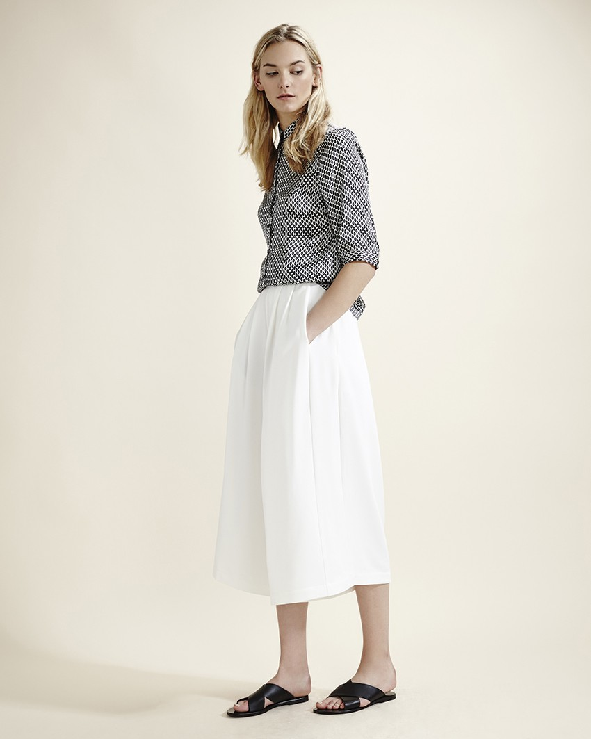 White crepe flared culottes, £75, French Connection