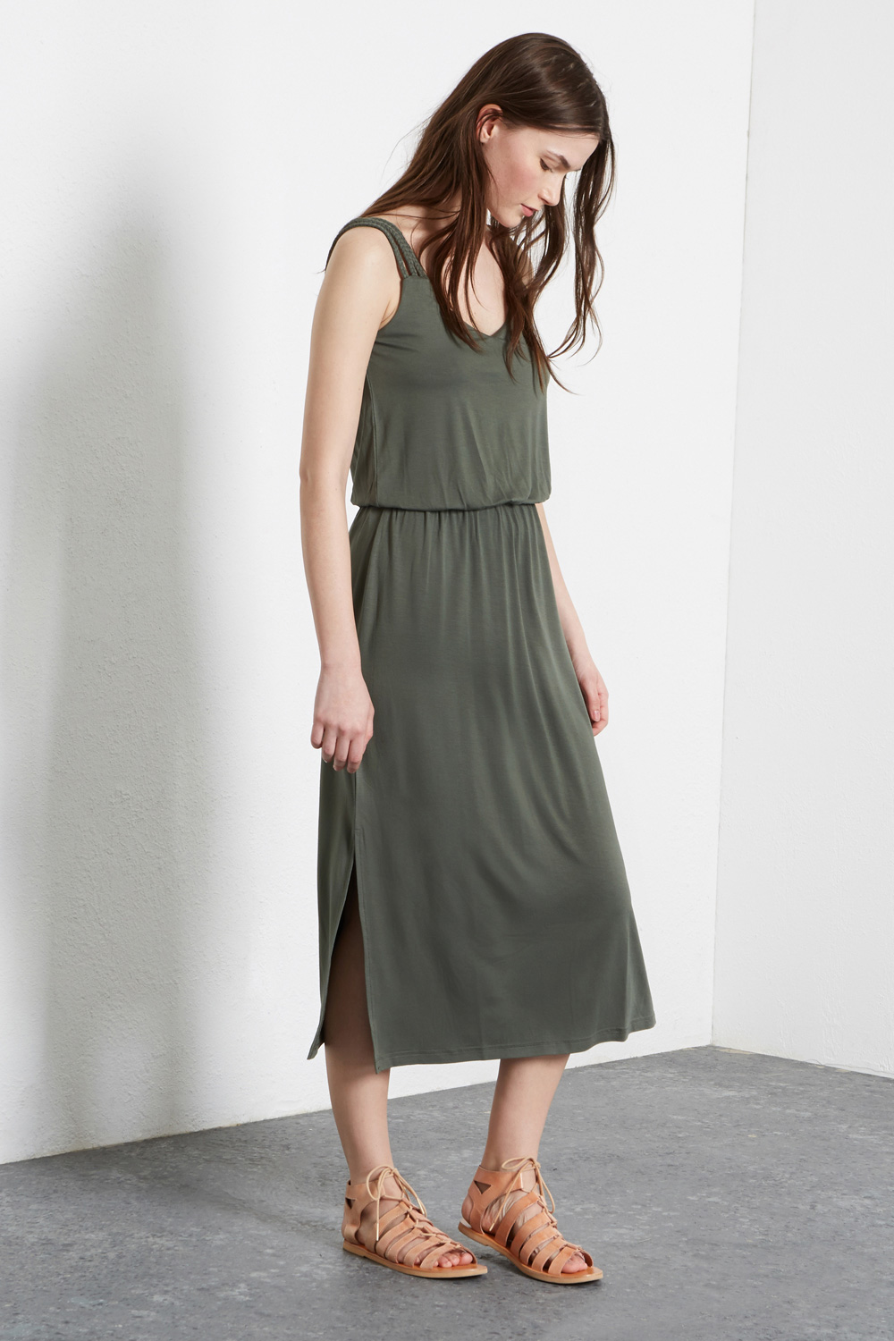 Plait-strap midi dress, £28, Warehouse