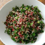 Wild rice, kale, chilli and pomegranate salad