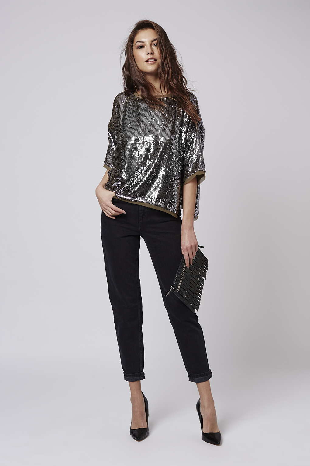 Raw-edge sequin top, £48, Topshop