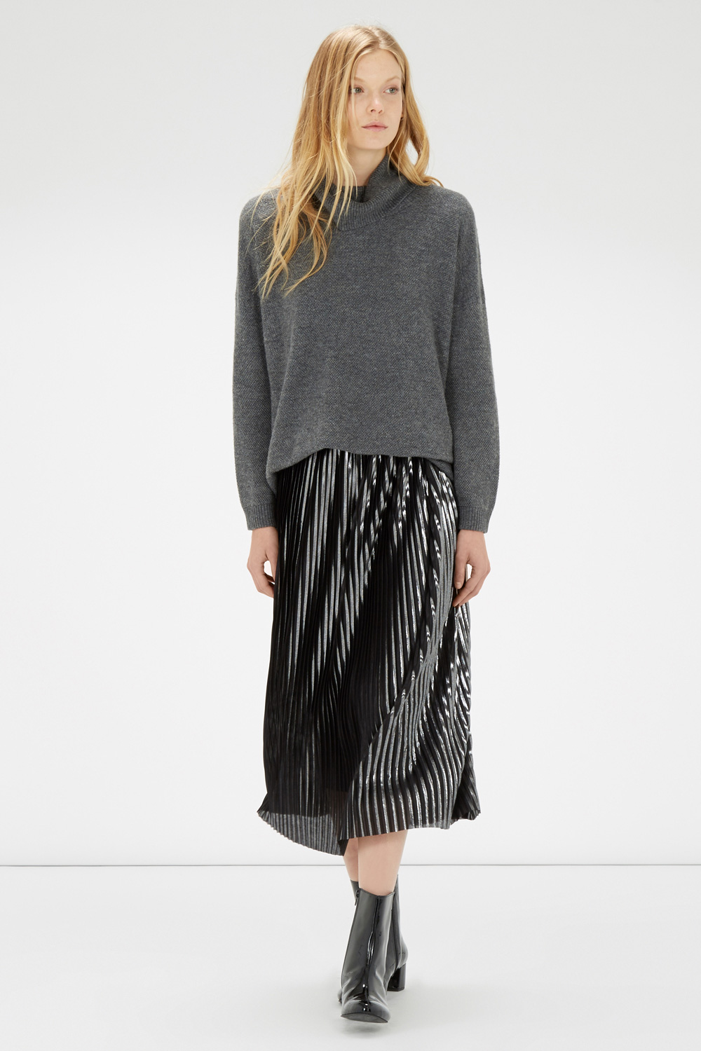 Metallic plisse skirt, £49, Warehouse