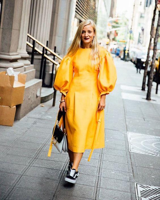 Kate Foley styles her Rejina Pyo midi dress with Vans